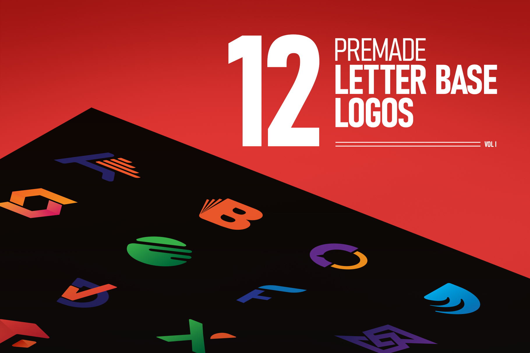 12 Pre-made Letter Base Logos Vol 1