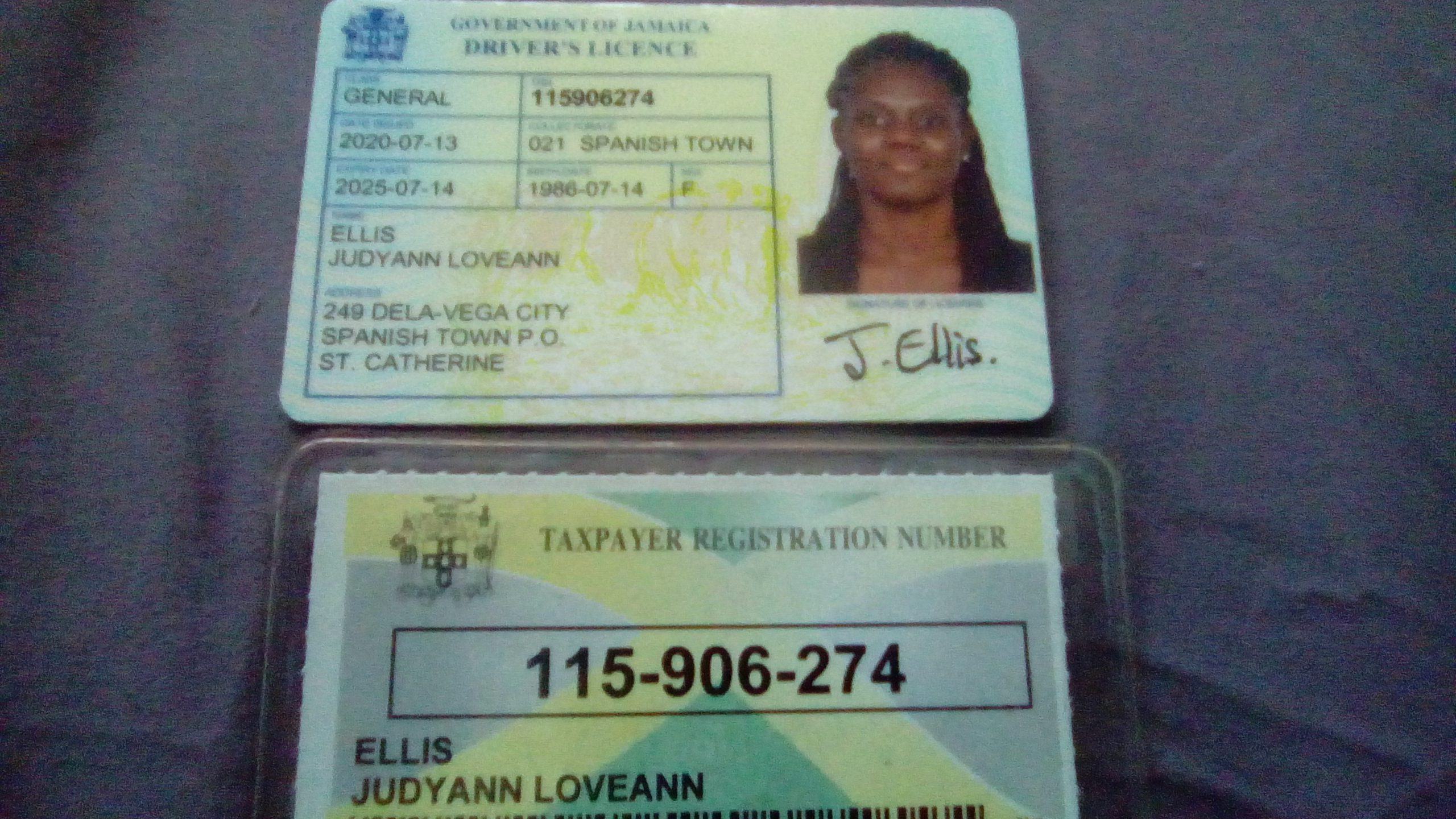 Driver's licence and TRN