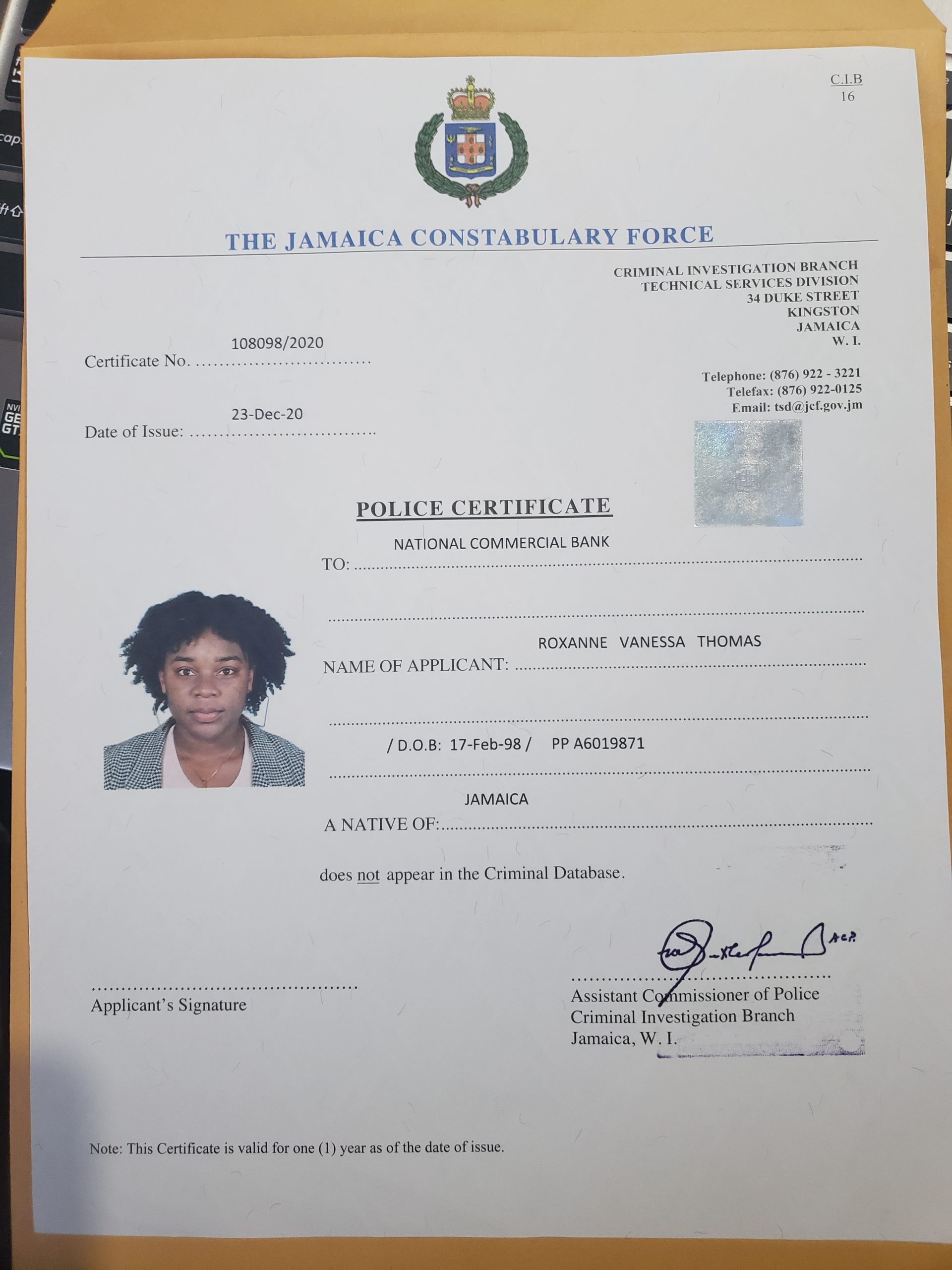 Police Report & Driver's Licence